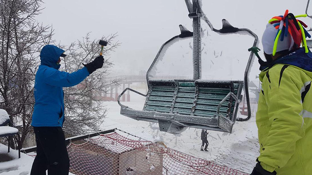 Snow on Mt. Hermon (Photo: Mt. Hermon management)