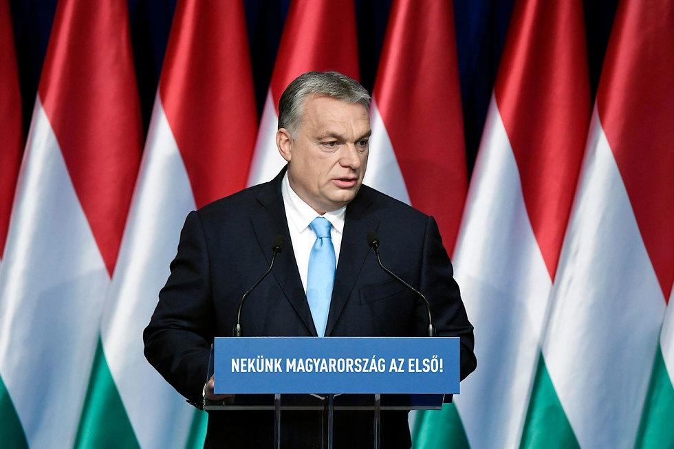 ראש ממשלת הונגריה ויקטור אורבן נאום מצב האומה (צילום: EPA)