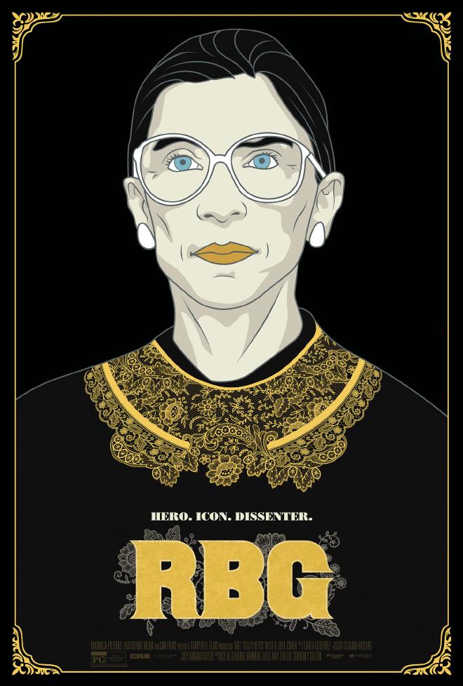 טקסטורת הצווארון של רות באדר גינסבורג. RBG