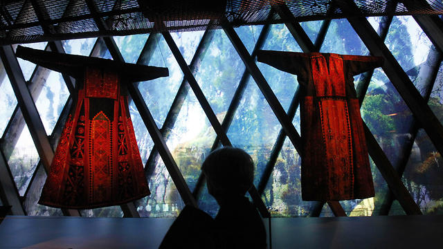 """Palestinian thobes at """"Women in Orient"""" exhibition at the Quai Branly Museum in Paris, France"""