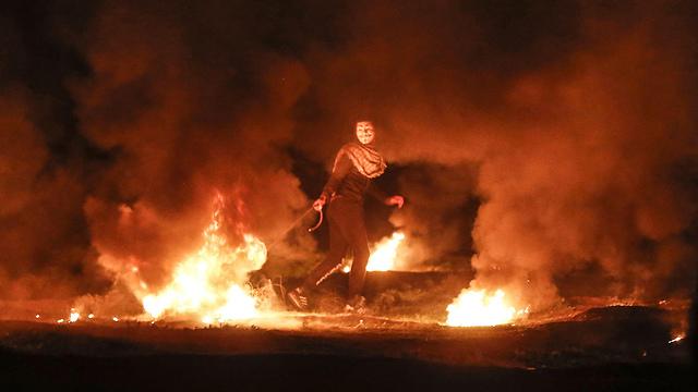 Ночные беспорядки у границы с Газой, февраль 2019 года. Фото: AFP