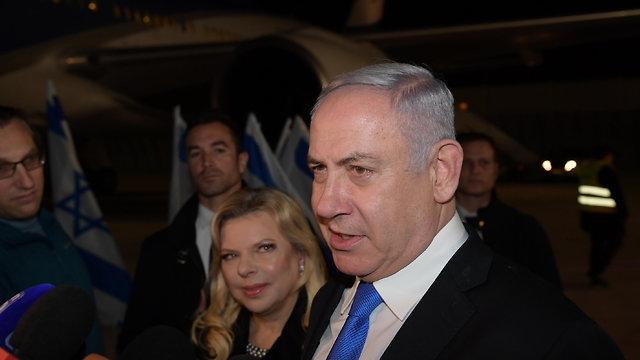 ראש הממשלה בנימין נתניהו ורעייתו ממריאים לביקור בוורשה, פולין, מנתב
