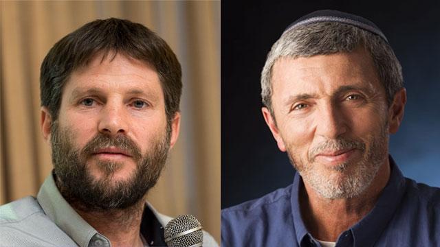 National Union head Bezalel Smotrich and Jewish Home leader Rafi Peretz (Photos: Yoav Dudkevitch)