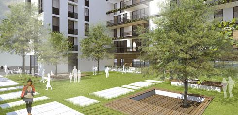 הדמיית חצר בין הבניינים שיוקמו (הדמיה: AA studio ltd)