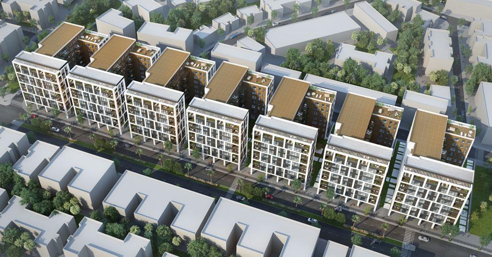 הם ייהרסו לטובת גוש בנייני 9 קומות, כשהעצים נעקרים לטובת חניונים עצומים. במקום 22 דירות בבניין - יהיו 60 (הדמיה: AA studio ltd)
