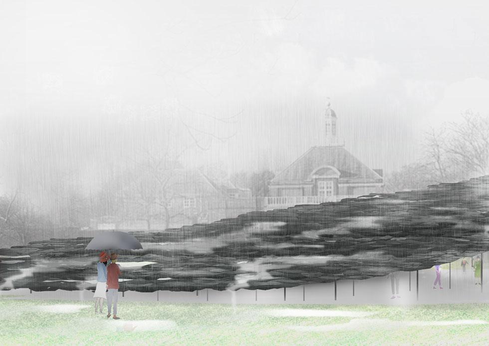 ''מקבצי לוחות הצפחה נראים כמרחפים ומתנופפים כמו פיסת בד'', אומר האדריכל (הדמיה: Serpentine Pavilion 2019, Design Render, Exterior View, © Junya Ishigami + Associates)