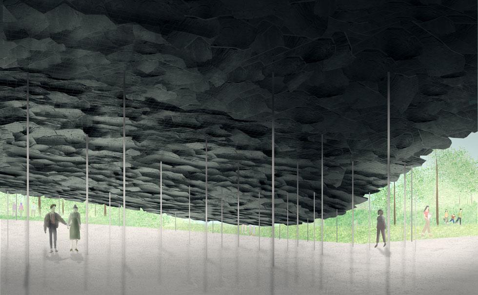 אישיגאמי מתעניין בגגות, ומתכנן את ביתן הקיץ של השנה כמו חופה, המורכבת מרעפי צפחה שפורצים מהמדשאה ונערמים לכדי גג (הדמיה: Serpentine Pavilion 2019, Design Render, Exterior View, © Junya Ishigami + Associates)