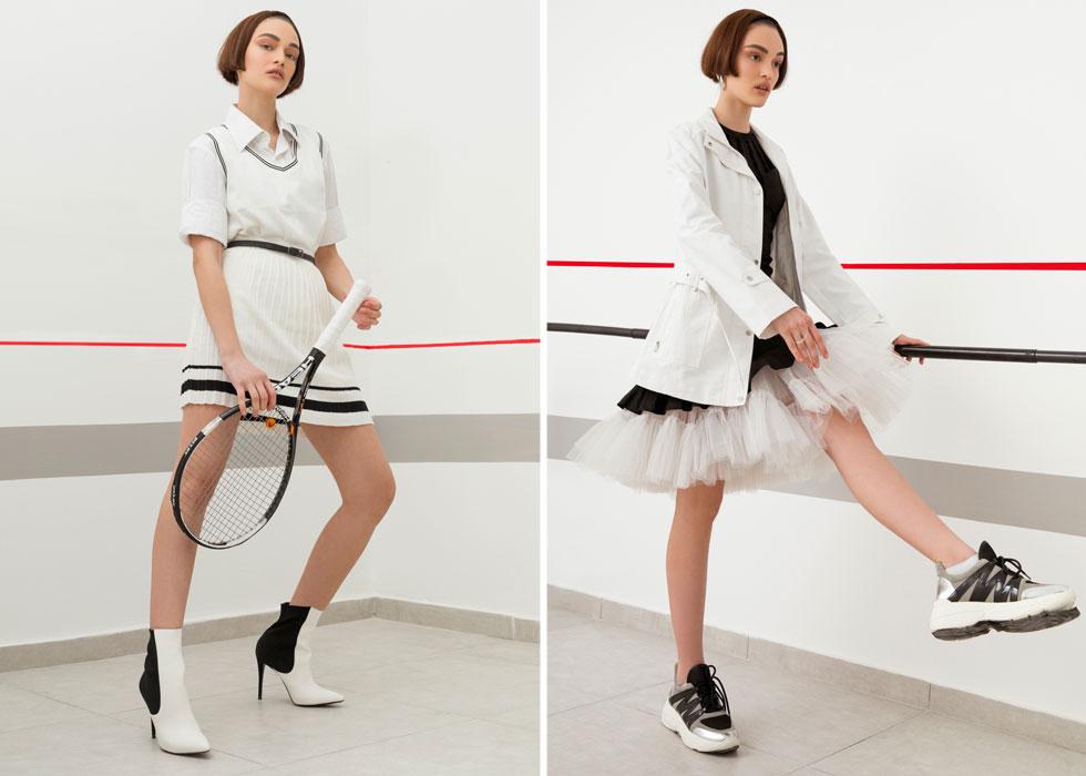 מימין: מעיל, Seekers | שמלה, Outside Society | חצאית טוטו, נוקס | עגילים וטבעות – Enbar Shetrit. משמאל: חצאית ואפודה – צ'ופ שופ | חולצה מכופתרת, Seekers | נעליים, סטיב מאדן | חגורה ומחבט – אוסף אישי  (צילום: נועה סלטי)