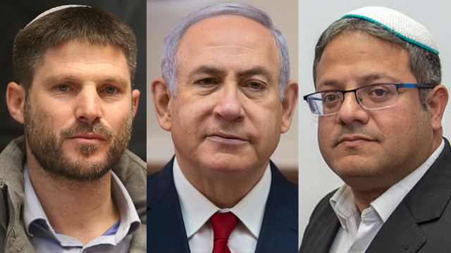 National Union head Bezalel Smotrich; Prime Minister Netanyahu, and Otzma Yehudit's Itamar Ben-Gvir (Photos: Alex Kolomoisky, AP, Yoav Dudkevitz)