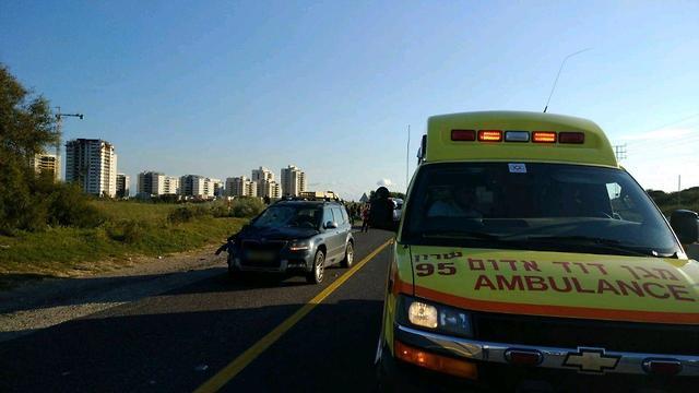 תאונה תאונת דרכים כביש החוף חוף  (צילום: אדם גבע דוברות מד