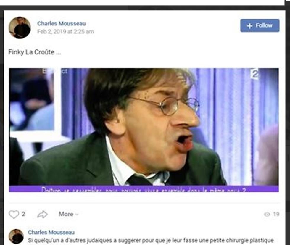 Alain Finkielkraut with photoshopped nose