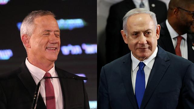Benny Gantz and Benjamin Netanyahu (Photo: Motti Kimchi, Reuters)