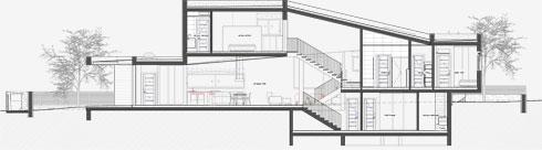 חתך הבית (תכניות: SO אדריכלים - שחר לולב ועודד רוזנקיאר)