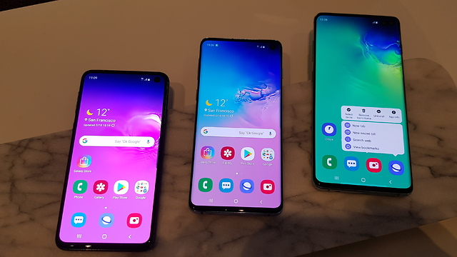 שלושת הטלפונים החדשים של סמסונג (צילום: יובל מן)