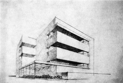 רישום של האדריכל דב כרמי לבית ליבלינג ברחוב אידלסון בת''א (צילום: יצחק קלטר)