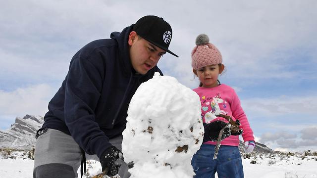 שלג בלאס וגאס (צילום: AFP)