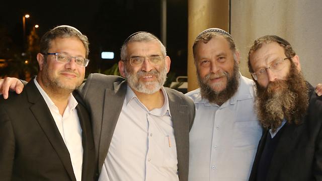The Otzma Yehudit Party, including (L-R): Itamar Ben-Gvir, Michael Ben-Ari, Benzi Gopstein and Baruch Marzel (Photo: Avi Mualem)