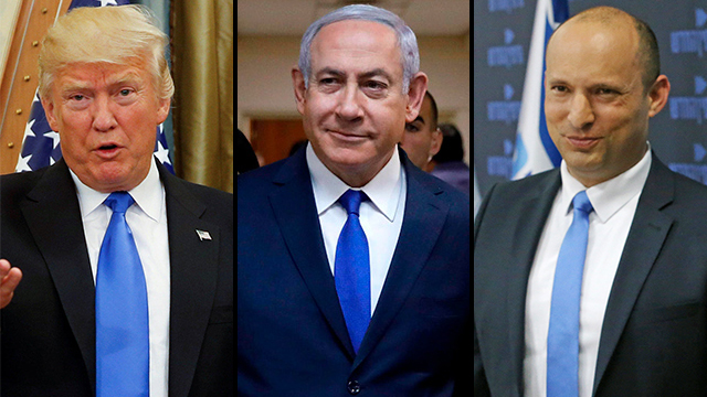 President Trump, Prime Minister Netanyahu and Naftali Bennett (Photo: Shaul Golan, AFP, Reuters)