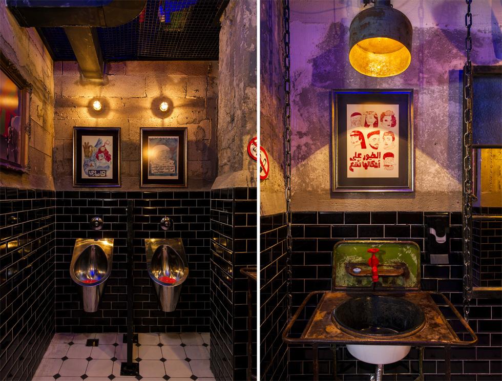 הכיורים בשירותים הם כיורי אמייל. כל קיר במקום טופל באופן אחר (צילום: מושי גיטליס)