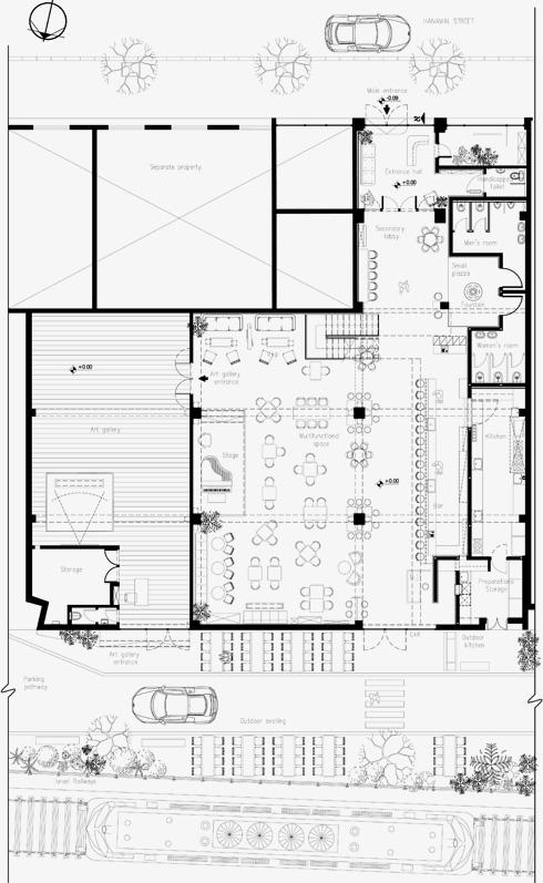 תוכנית המקום. החלל המרכזי והגלריה נבנו במה שהיה מחסן סחורות, והכניסה נעשית דרך מבנה משרדים לשעבר (תוכנית: k.o.t אדריכלים)