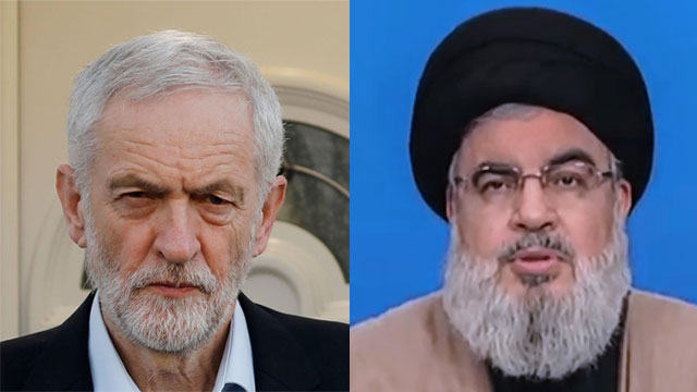 British Labour leader Jeremy Corbyn and Hezbollah chief Hassan Nasrallah (Photos: EPA, AFP)