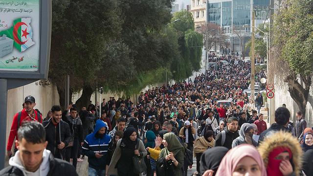 אלג'יריה מפגינים רבבות מחאה נדירה נגד הנשיא עבד אל-עזיז בוטפליקה (צילום:  AFP)