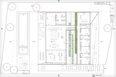 תוכנית המגרש בקומת הקרקע (תוכנית: פיצו קדם אדריכלים)