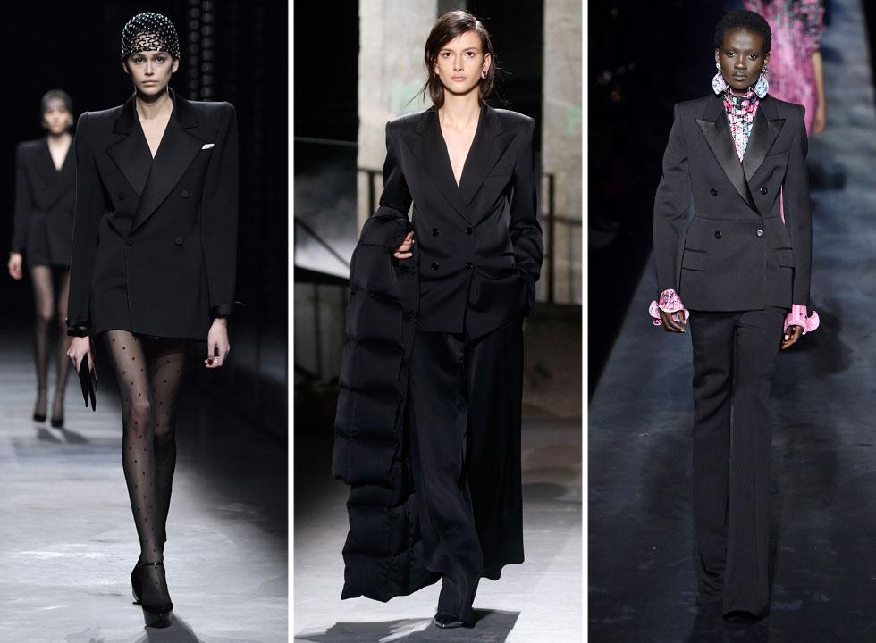 """שתי מגמות בולטות הופיעו בתצוגות לחורף הבא: שמלות ערב צבעוניות ואווריריות, לצד חליפות טוקסידו שחורות שהחזירו לחיים את ה""""לה סמוקינג"""" המיתולוגי של איב סן לורן. בין בתי האופנה שיצרו פרשנויות למגמה, אהבנו את אלה של סן לורן, בלמן ודריס ון נוטן (צילום: Pascal Le Segretain/GettyimagesIL)"""