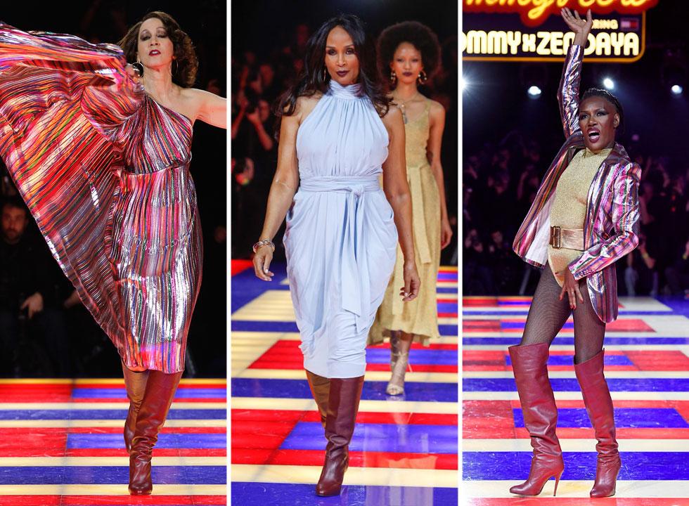 """המעצב טומי הילפיגר השיק בפריז שיתוף פעולה חדש עם הזמרת ושחקנית זנדאיה, בתצוגה שהתמקדה בדוגמניות שחורות ובכיכובן של שלוש דוגמניות עבר שהאפילו על הדור הצעיר: פט קליבלנד, 68, בברלי ג'ונסון, 66, וגרייס ג'ונס, 70, שצעדו בתצוגת האופנה המיתולוגית """"קרב ורסאי"""" שנערכה בעיר בשנת 1973"""