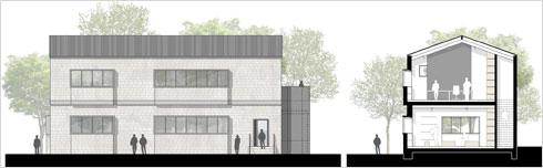 בית המחנכים במושבה הגרמנית בירושלים. עוד פרויקט בדרך לביצוע (חזית וחתך: אדריכלים שטרסבורגר ופלד)