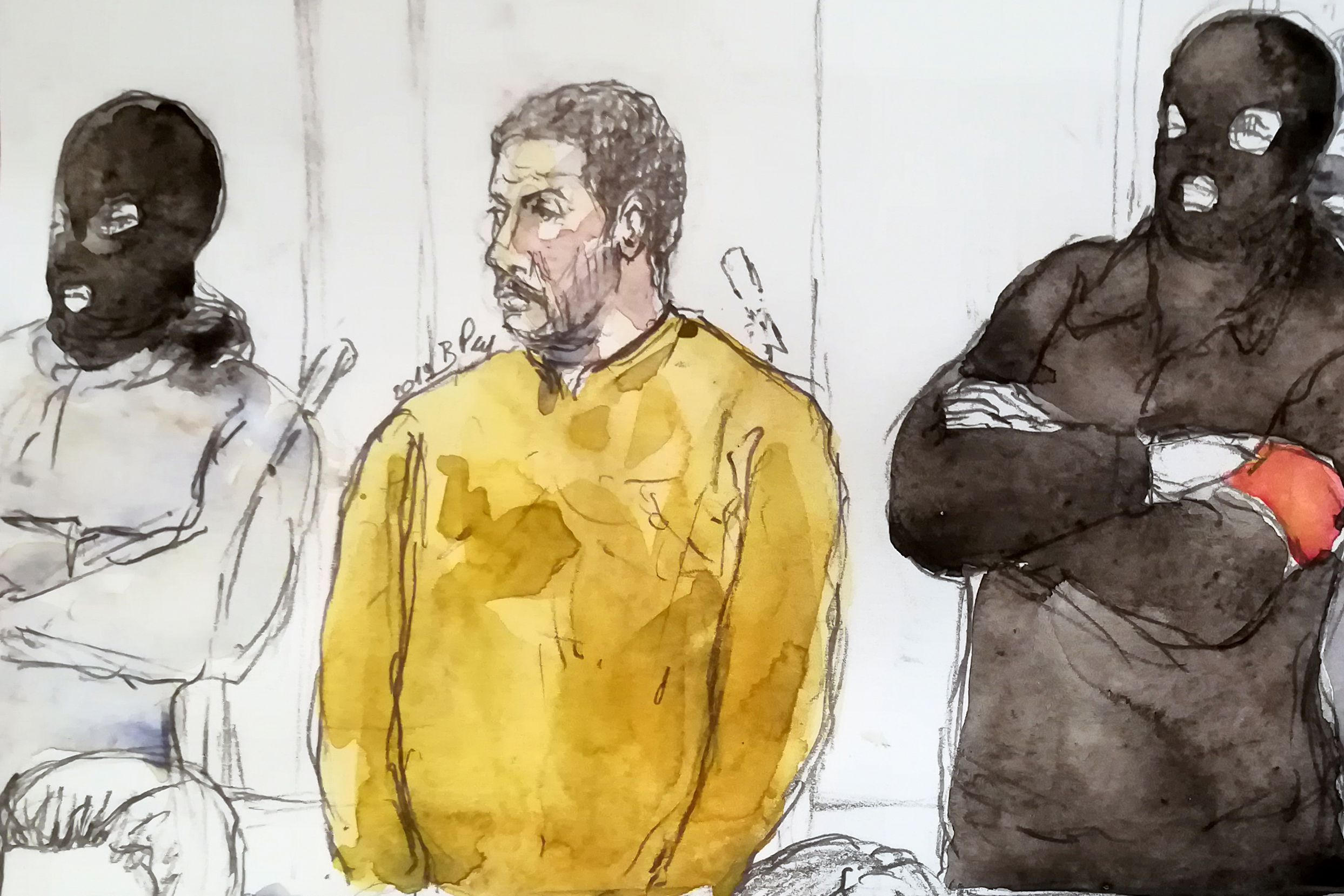 A court sketch shows Mehdi Nemmouche, accused of the terrorist attack at the Jewish Museum in Brussels in 2014