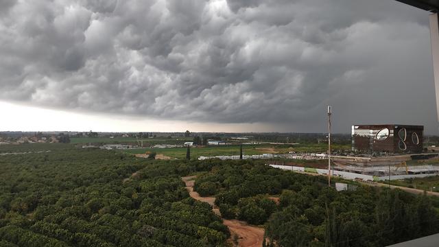 Stormy weather in Raanana (Photo: Moshe Shehrur)