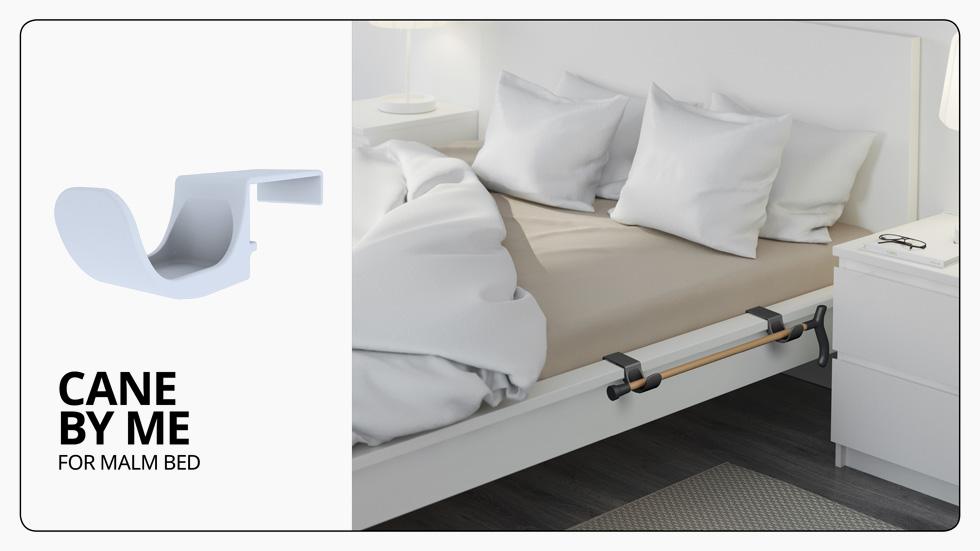 כך אפשר להניח מקל הליכה בצמוד למיטה. למעט אחת, את כל התוספות אפשר להוריד כקובץ מחשב (בחינם), ולהדפיס בתלת ממד (בתשלום) (צילום: איקאה)