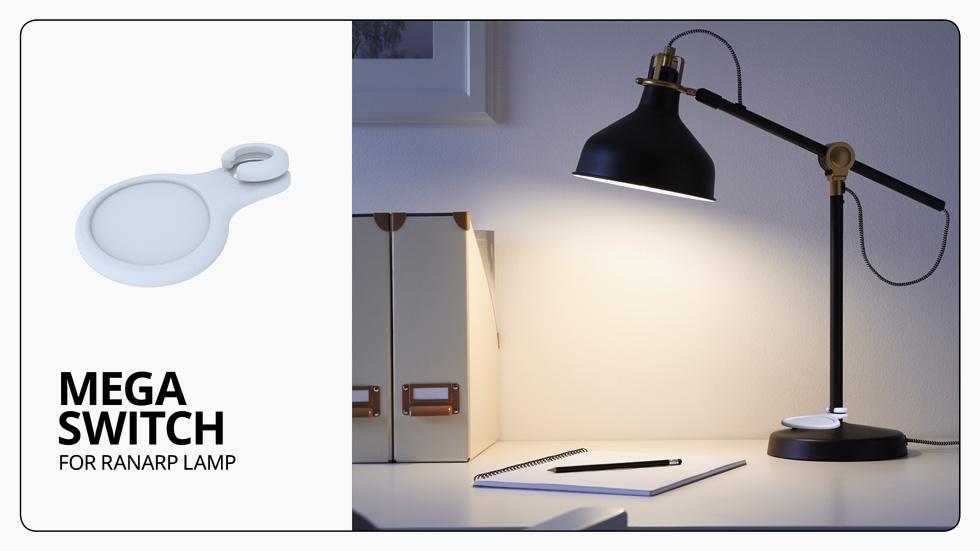 משטח מוגדל מקל בהדלקת המנורה ובכיבויה. לפרויקט נבחרו 13 מוצרי איקאה שימושיים, ולכל אחד מהם עוצבה תוספת חכמה, נוחה וקלה לחיבור (צילום: איקאה)