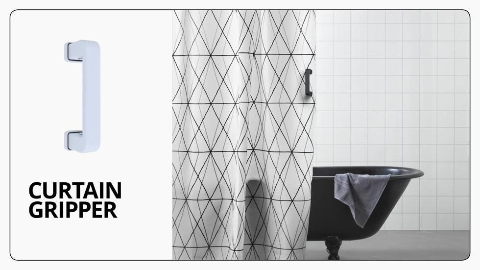 תוסף של ידית קשיחה מקל על הסטת וילון האמבטיה. בסרטון שלמעלה תוכלו לראות בדיוק איך זה עובד, ובאתר הפרויקט מוצמד סרטון לכל פתרון (צילום: איקאה)
