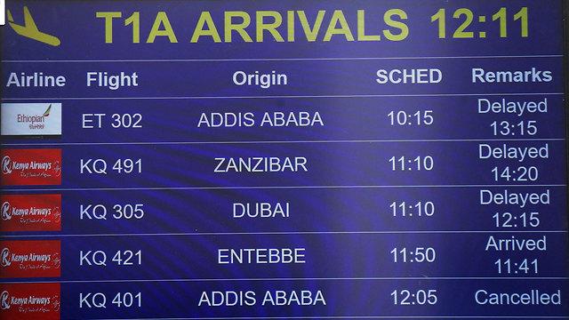 לוח הטיסות בנמל תעופה JKIA בניירובי, קניה (צילום: רויטרס )