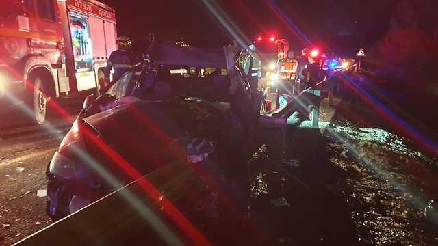 תאונת דרכים סמוך לעין זיתים (צילום: דוברות כבאות והצלה מחוז צפון)