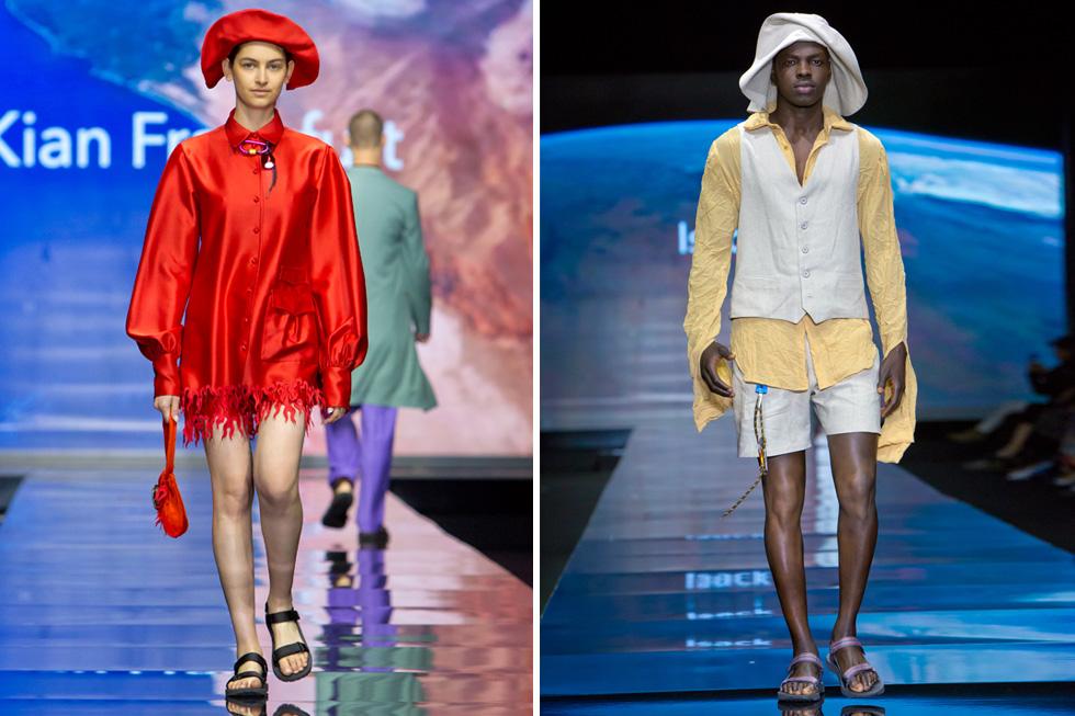 שימו כובע! המעצבת הצעירה קיאן פרנקפורט במערכת לבוש אדומה שביקשה לפרק את החליפה הגברית (משמאל), ומעצב האופנה איזק רוזנבאום במערכת לבוש חלוצית בגווני אדמה  (צילום: ענבל מרמרי)