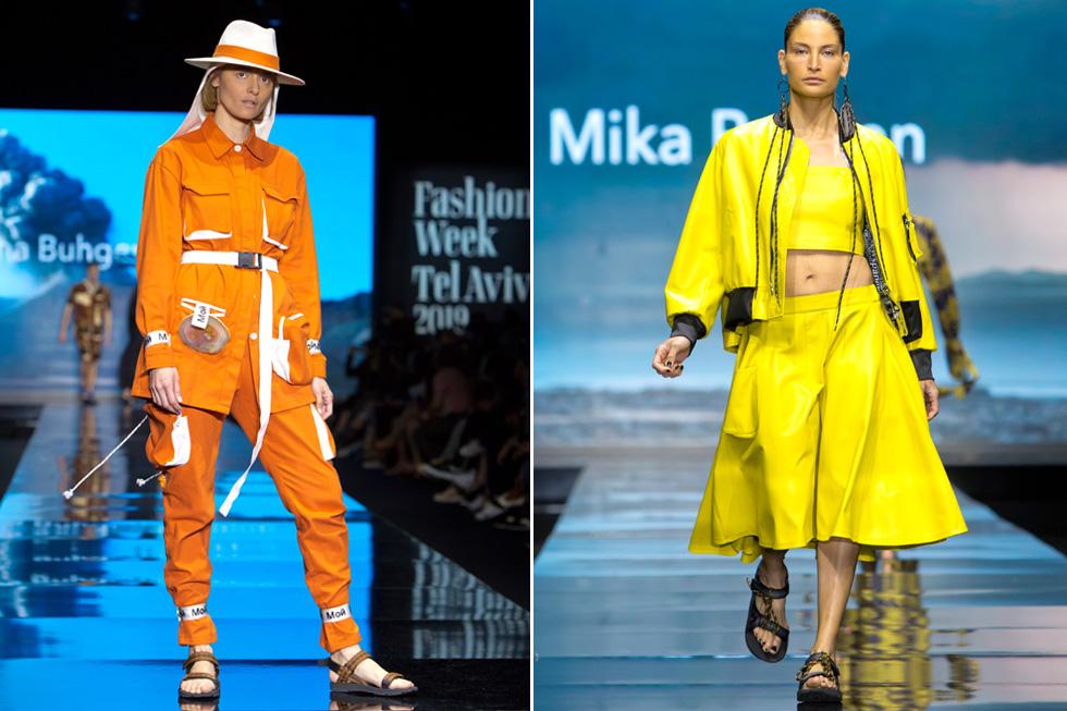 המעצבת מיקה בשן האירה את המסלול במערכת לבוש בצהוב לימון שלבשה הדוגמנית שרון גניש (מימין), בעוד אניה מרטירוסוב כבוקרת מודרנית בבגד של המותג MOI  (צילום: ענבל מרמרי)