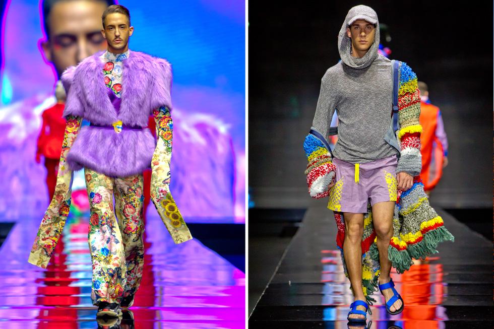 הסטייליסט יונתן פרימרמן בבגד של דניאל בן יקר והפרפורמר דרור כהן בבגד של נעה טרלובסקי  (צילום: ענבל מרמרי)