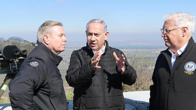 L-R: Lindsey Graham, Benjamin Netanyahu and David Friedman (Photo: Amos Ben Gershom, GPO)