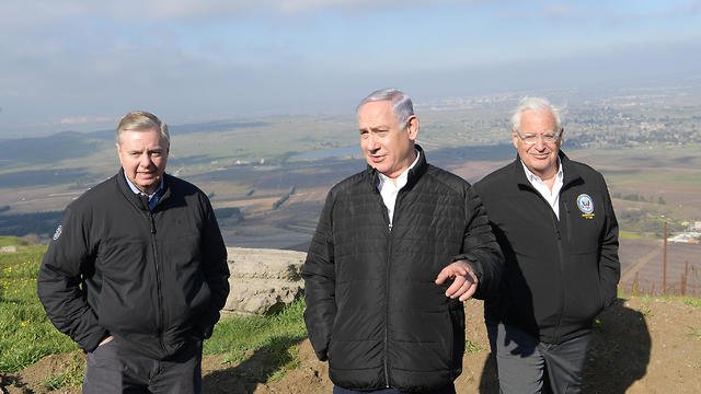 David Friedman with Benjamin Netanyahu and Sen. Lindsey Graham on the Golan Heights (Photo: GPO)