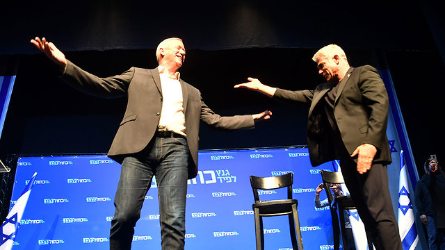 Blue and White party leaders Benny Gantz and Yair Lapid (Photo: Haim Horenstein) (Photo: Haim Horenstein)