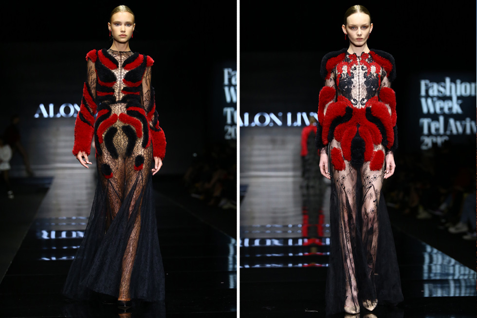אחת הקבוצות החזקות בקולקציה חיברה בין הצבעים אדום לשחור, בשמלות תלת ממדיות שכמו דיממו על המסלול (צילום: אלון פרס)
