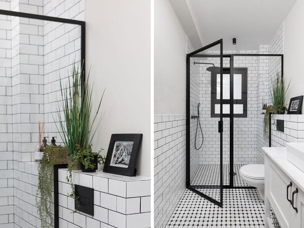 חדרי הרחצה עוצבו בגווני שחור-לבן בווריאציות שונות. גם בהם שולבה צמחייה (צילום: שירן כרמל)