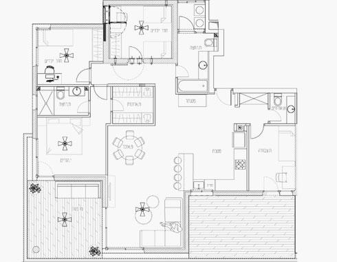 תוכנית הדירה. לצד דלת הכניסה - אזור נפרד לקליניקה (תוכנית: דיקלה גלזר)