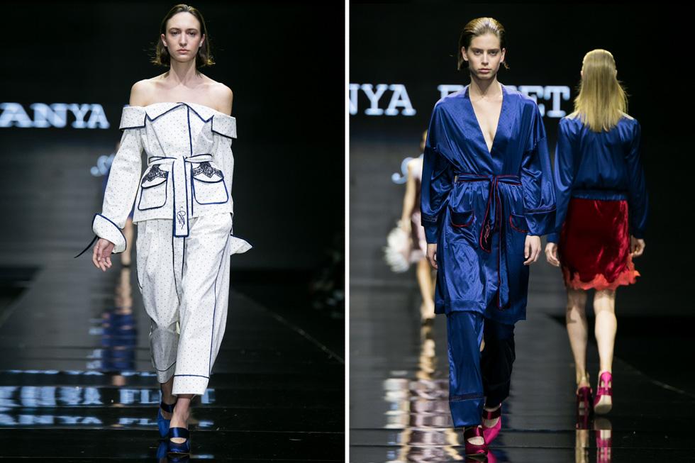טרנד הפיג'מה לא חמק העונה גם מפליט, שהציגה מספר מערכות לבוש בסגנון זה, כמו חליפת פיג'מה כחולה עם חגורה מעוטרת פס קטיפה אדום וחליפה לבנה עם חולצה חושפת כתפיים  (צילום: אלון פרס)