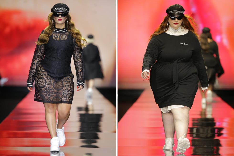 חטיבה של בגדי ספורט שחורים פתחה את התצוגה, עם דוגמניות חמושות בכובעי קסקט בסגנון אופנת רחוב. הבגדים הצמודים לא ישבו היטב על גוף הדוגמניות, והסטיילינג גנב את ההצגה (צילום: אבי ולדמן)
