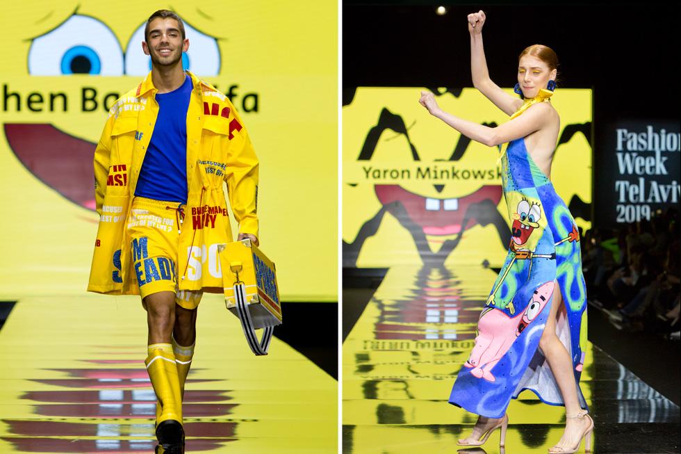 מאיה ורטהיימר רוקדת על המסלול בשמלה של ירון מינקובסקי ועומר חזן לובש עיצוב של חן בר כליפה (צילום: ענבל מרמרי)