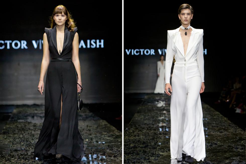 חיבור בין אלמנטים מהמלתחה הגברית שזוכים לפרשנות נשית ורכה בזכות מפתחי מחשוף עמוקים באוברול לבן ושמלה שחורה (צילום: ענבל מרמרי)